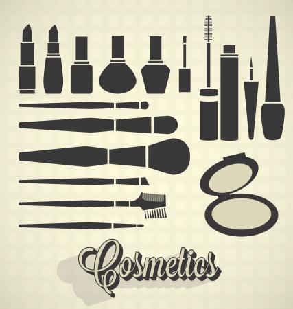 Vector set: Cosmetica Silhouettes Stock Illustratie