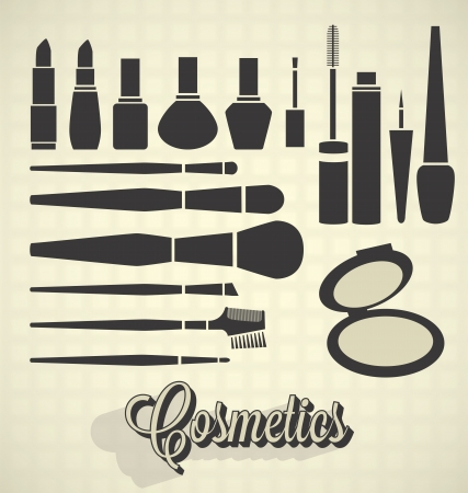 makeup a brush: Vector Set: Cosmetics Silhouettes