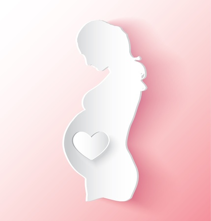 Pregnant Woman With Heart Where The Baby Is Vector