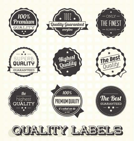 Vector Set: Vintage Premium Quality Labels and Badges Ilustração