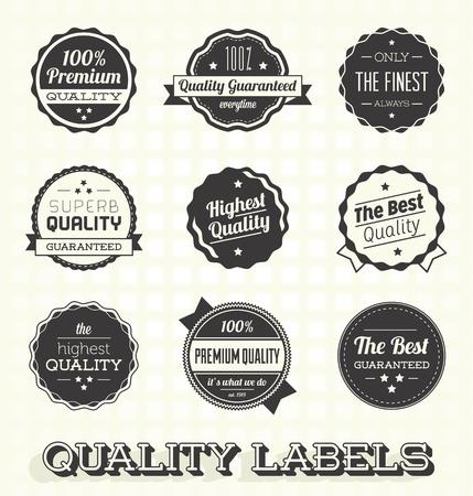 Vector set: vintage Premium Quality Labels en badges Stock Illustratie