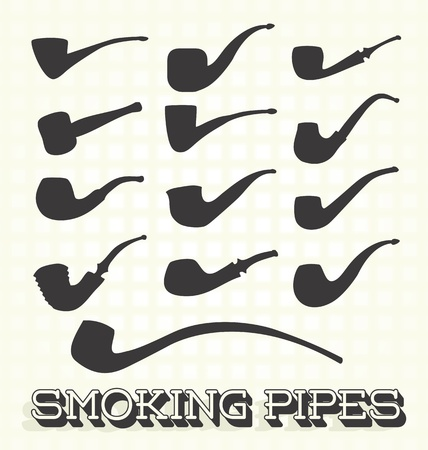 smoking pipe: Vector Set: Retro Smoking Pipes