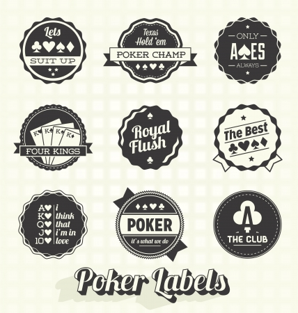Vector Set: Vintage Poker Labels Vector