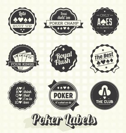 Zestaw Vector: Vintage Poker Etykiety Ilustracja