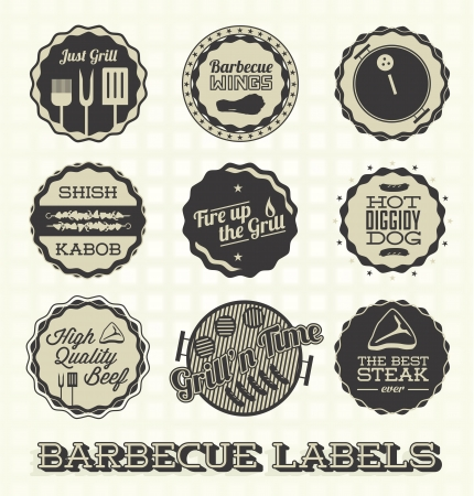 grill meat: Set Illustration: Les �tiquettes vintages barbecue