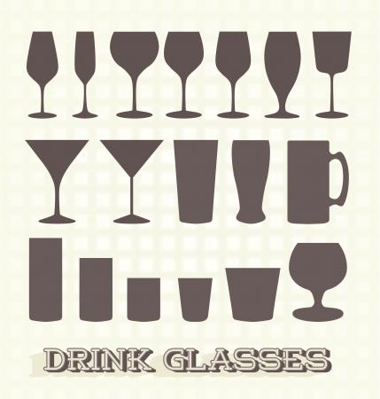 セット: 飲むガラス シルエット
