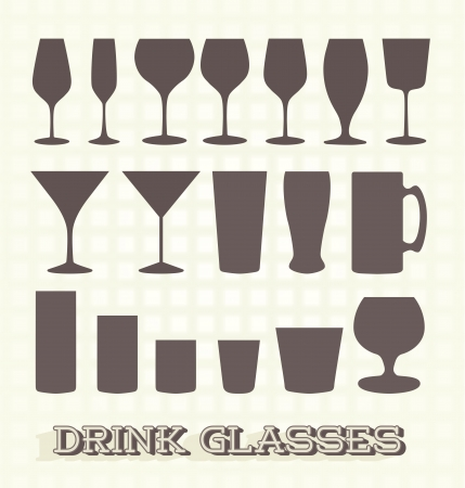 Set: Drink Glass Silhouettes Vector