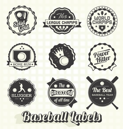 baseball: Set: Retro Baseball Champion Labels and Icons Illustration