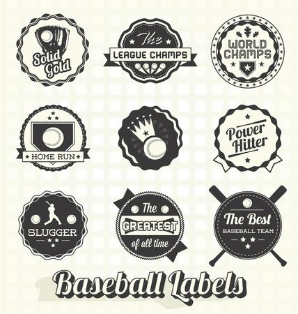 Set: Retro Baseball Champion Labels and Icons Illustration