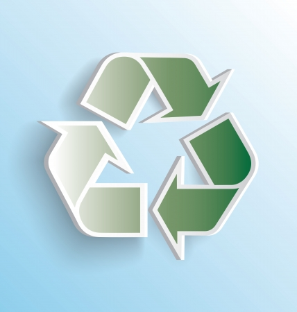 3D Modern Recycling Icon with Shadow Vector