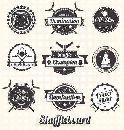 Retro Shuffleboard Labels and Icons Stock Vector - 19975618