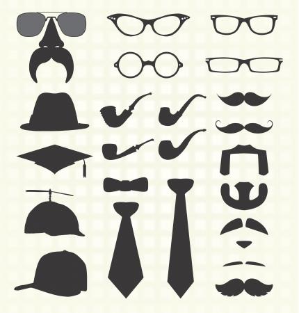 bow tie: Conjunto de vectores: elementos de moda como bigotes
