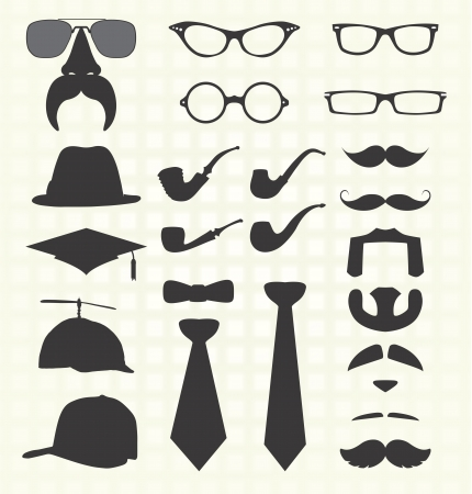 noeud papillon: ensemble de vecteurs: �l�ments de mode, y compris moustaches Illustration