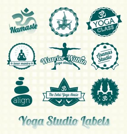 Vector set: Retro Yoga Class labels en pictogrammen