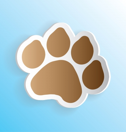 dog track: Dog Paw Print 3D Sticker Peeling Away