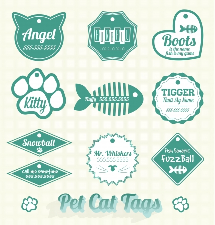 etched: Vector Set: Pet Cat Name Tags and Labels Illustration