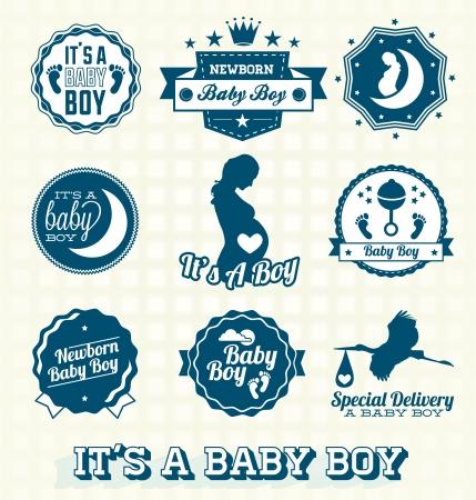 ベクトル設定 s A 赤ちゃんの男の子のラベルとアイコン  イラスト・ベクター素材