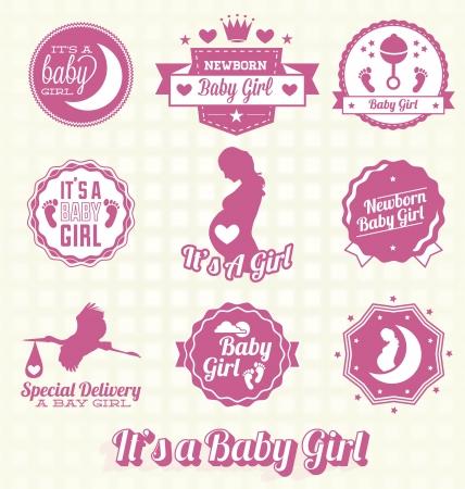 cigogne: Vector Set It S D Un bébé Labels fille et icônes Illustration