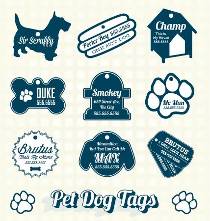 hueso de perro: Set vectorial: Retro Pet Dog Name Etiquetas Etiquetas Vectores