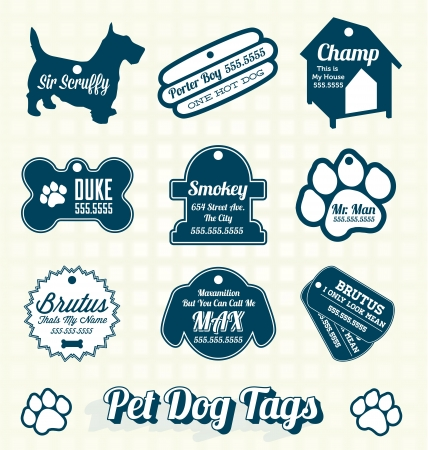 dog tag: Vector Set: Retro Pet Dog Name Tags Labels Illustration