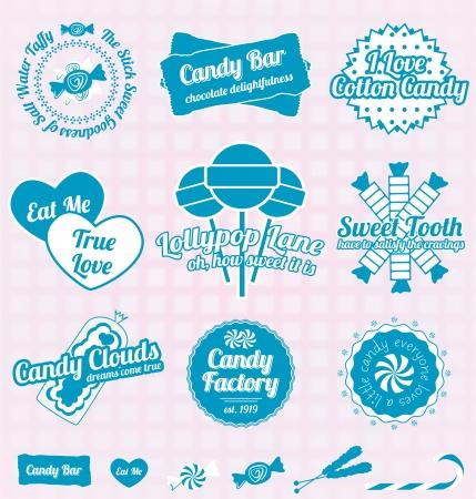 algodon de azucar: Set vectorial: Retro Candy Shop Iconos y etiquetas Vectores