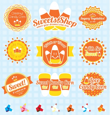 spun sugar: Set Retro Candy Corn Labels and Icons
