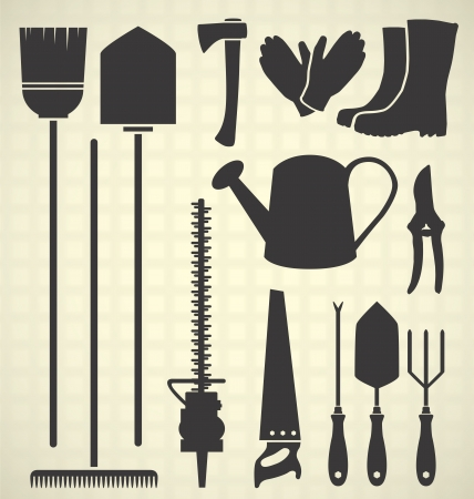 Gardening Tool Silhouettes Vector