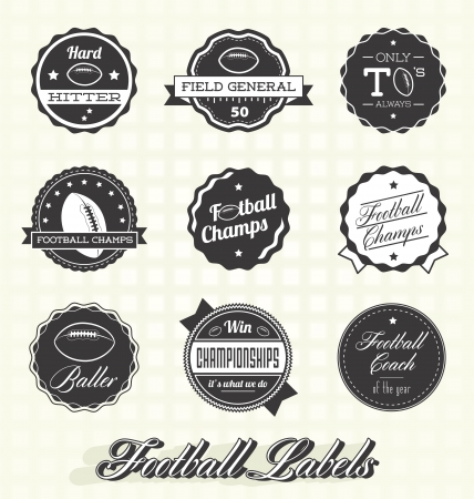 pigskin: Retro Football Champs Labels  Illustration