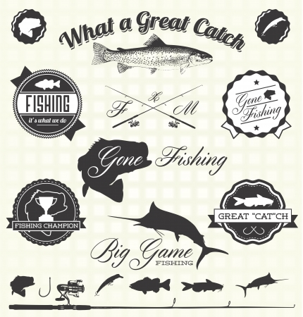 Retro Gone Fishing Labels Vector