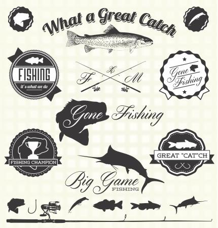 Retro Przeminęło Etykiety rybackie Ilustracja