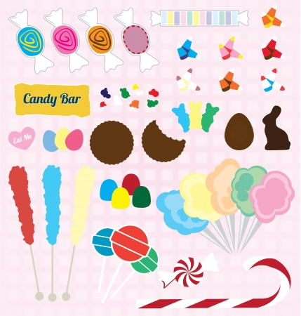 spun sugar: Set of Candy Pieces Illustration