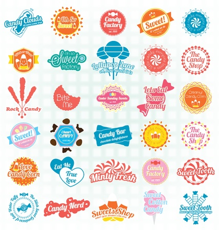 candy apple: Candy and Sweets Labels and Icons Illustration