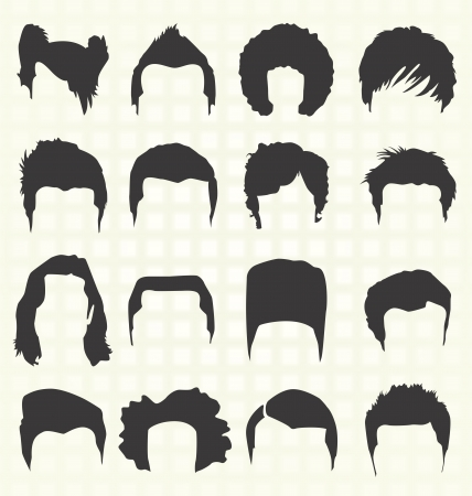 hairdos: Men s Elementi Acconciatura Vettoriali