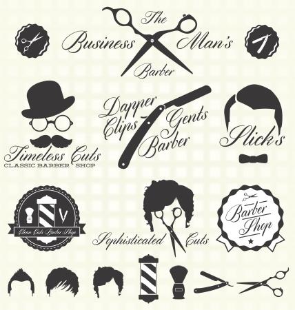 Vintage Barber Shop Labels Vectores