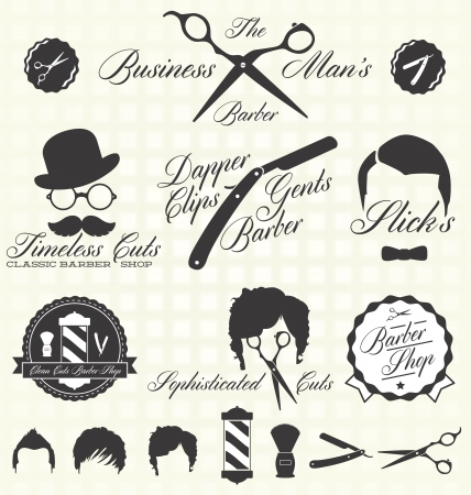 barber pole: Vintage Barber Shop Labels Illustration