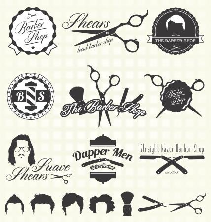 sal�n: Vintage Barber Shop etiquetas Vectores
