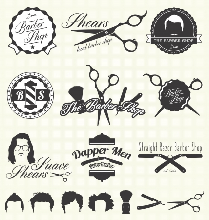 straight razor: Vintage Barber Shop Labels Illustration
