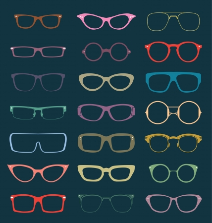 Retro Glasses Silhouettes Vector