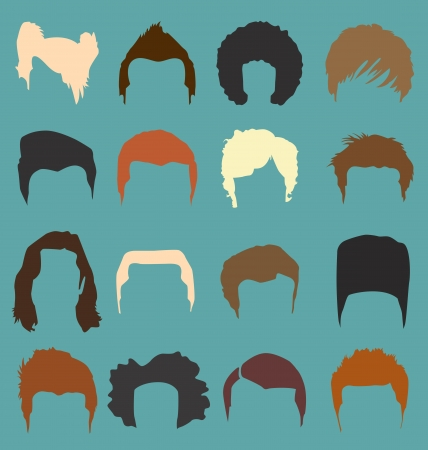 Male Hair Style Silhouettes in Color Vector