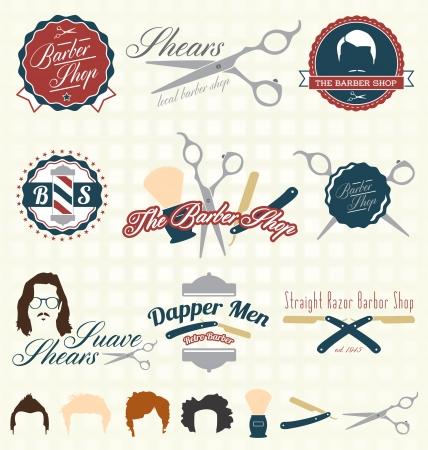 barber shop: De Barbershop labels en pictogrammen Stock Illustratie