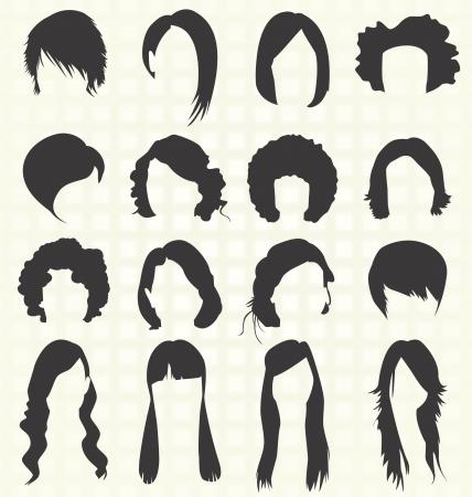 女性の髪型シルエット