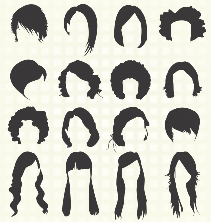 Woman s Hairstyle Silhouettes Vector