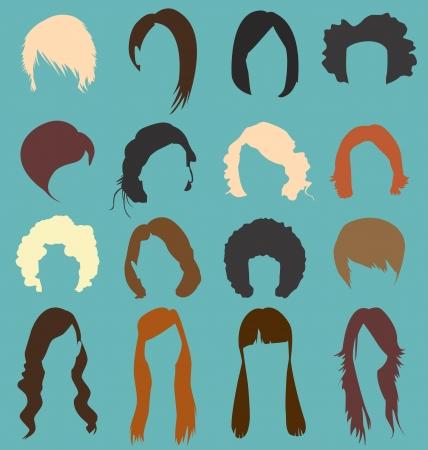 Retro Woman s Hairstyle Silhouettes Vettoriali