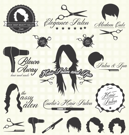 hair dryer: Hair Salon Labels and Icons Illustration