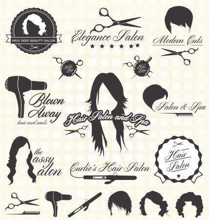 secador de pelo: Iconos y etiquetas del sal�n de pelo Vectores