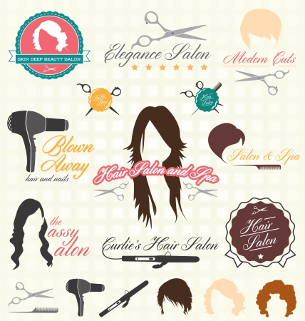 Retro Hair Salon Labels and Icons Vector