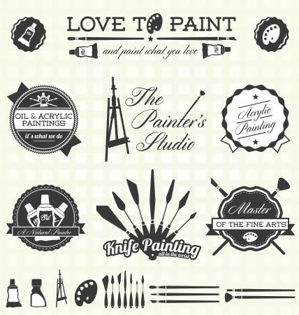 pintor: Conjunto de vectores: etiquetas Pintor retro e Iconos