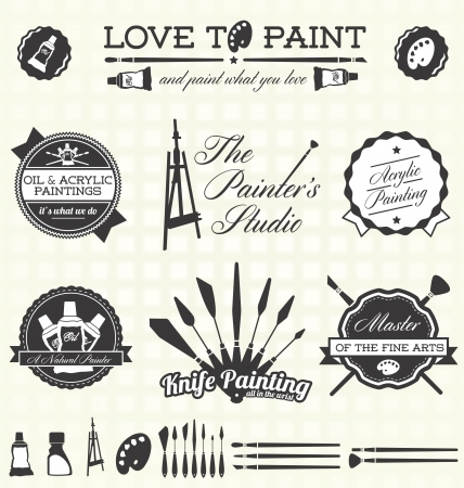 Vector Set: Retro Painter Labels and Icons Çizim