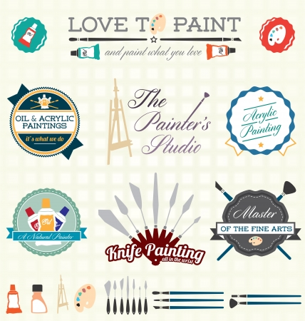 palette knife: Vector Set: Artist Painter Labels and Icons