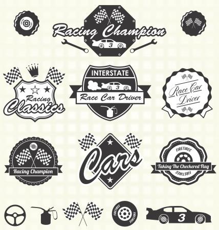 bandera carrera: Vector Set: conductor de coche de carreras Etiquetas Champion Retro Vectores
